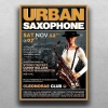 Jazz Posters Flyers psd Template for jazzy blues live Band Concert or sax festival