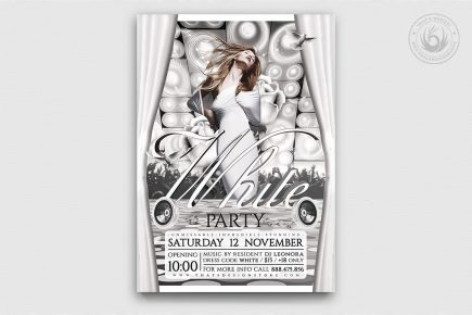 White Party Flyer Template Psd download