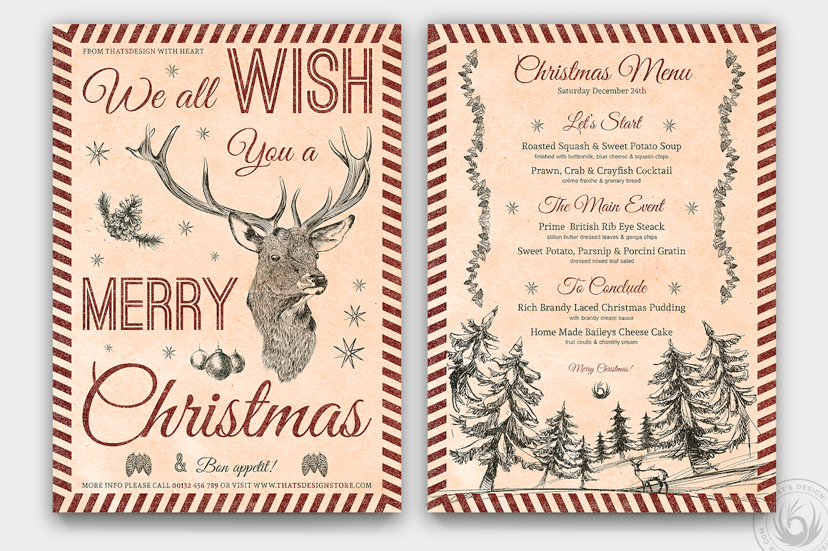 Christmas Menu Template psd download design for photoshop