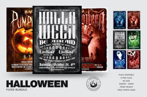 Halloween Flyer Templates design psd Bundle V4