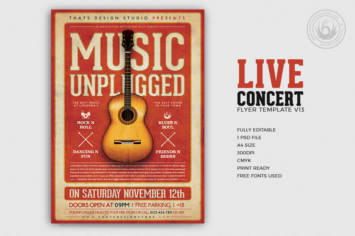 Live Concert Flyers posters Templates V13, Alternative band, Indie pop rock festival psd