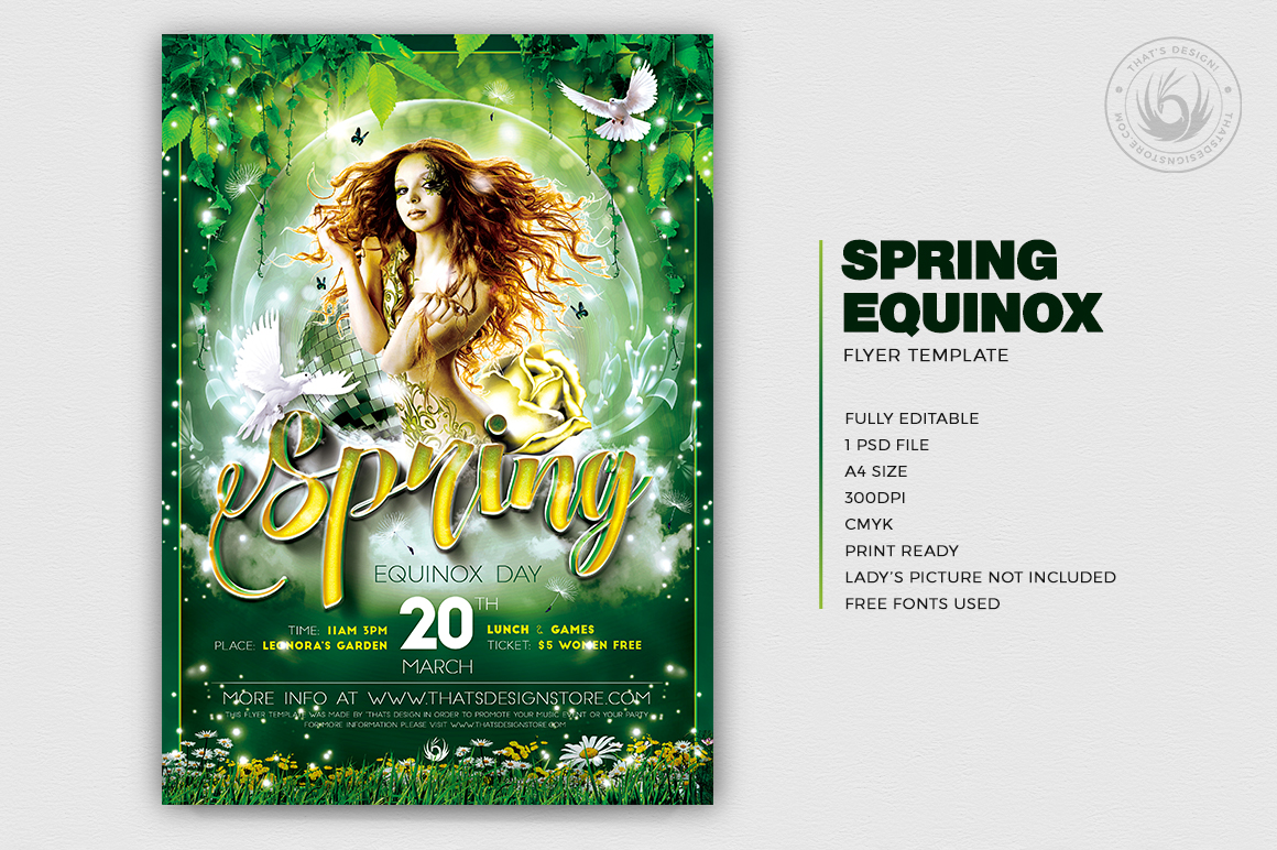 Spring Equinox Flyer Template PSD Download V2