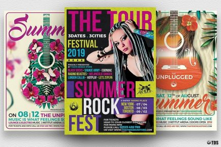 Summer Concerts Flyer Bundle for any beach party,festival, club or cocktails bar event. Pool or garden party with Dj set mixing chillout, lounge music for a tropical sunset, summer camp holidays