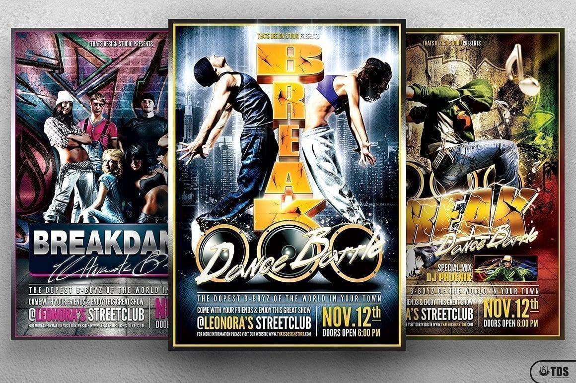 Break Dance Flyer Bundle | Free posters design for photoshop
