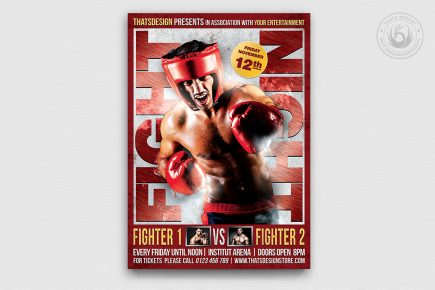 Fight Night Boxing Flyer Template V3