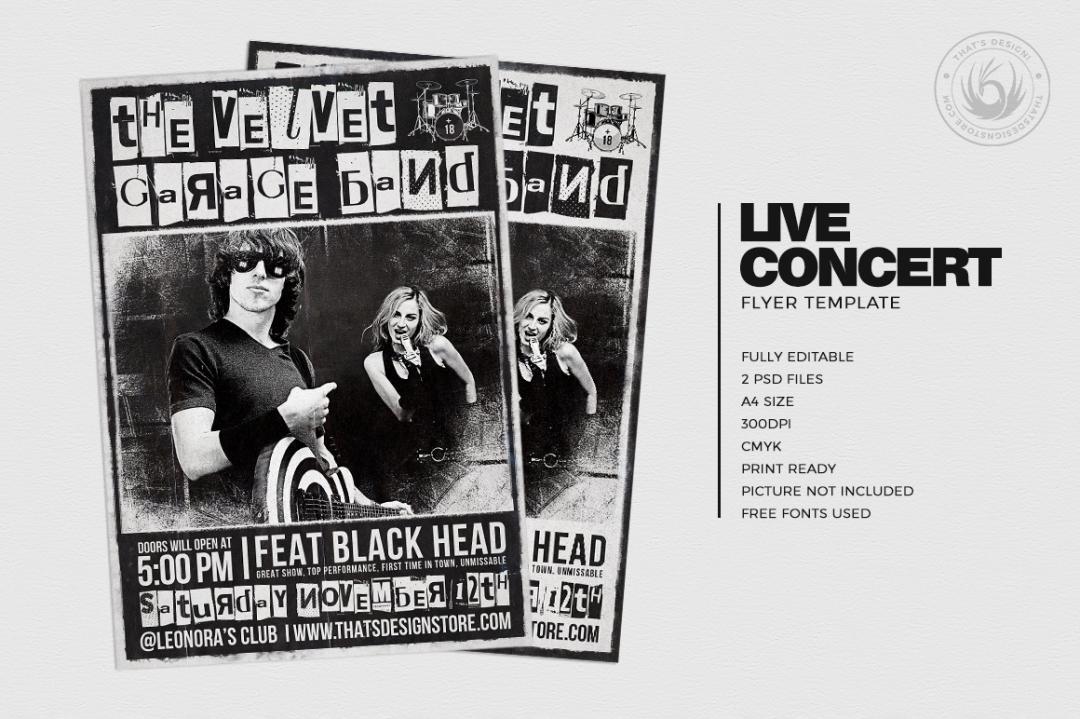 Live Concert Flyers posters Templates V3, Alternative band, Indie pop rock festival psd