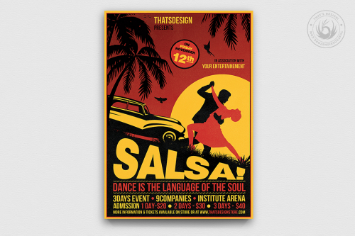 Cuban Salsa Flyer template psd to download