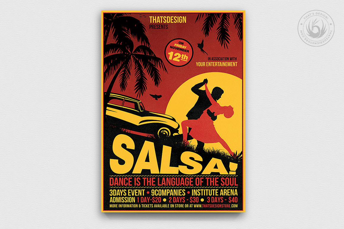 Cuban Salsa Flyer template psd to download