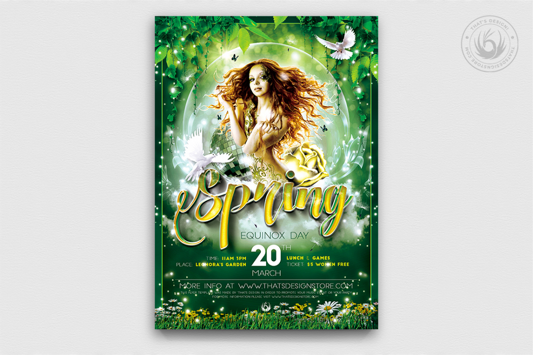 Spring Equinox Party Flyer Psd Templates, green earth day, ecological