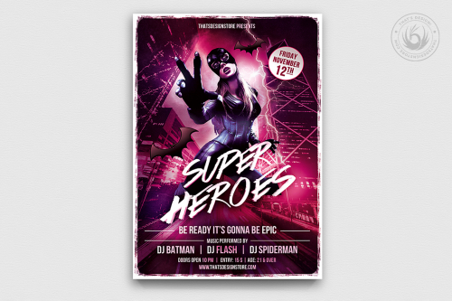 Superheroes Night Flyer Template PSD Download, themed party poster design