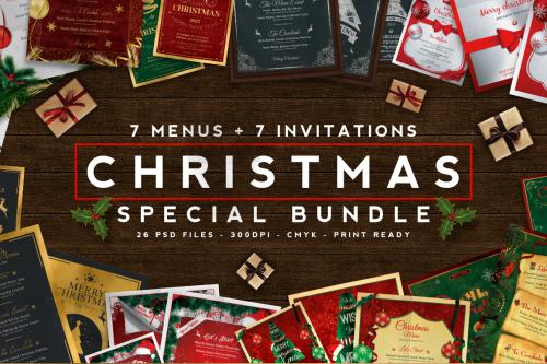 7 Xmas Menus + 7 Invitations Bundle