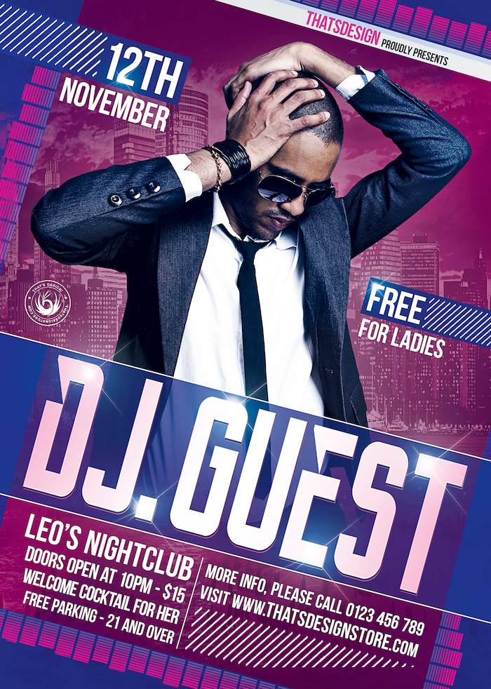 DJguest flyer template psd for Clubbing or Electro Party, Dubstep, Alternative, Trance, House music event...