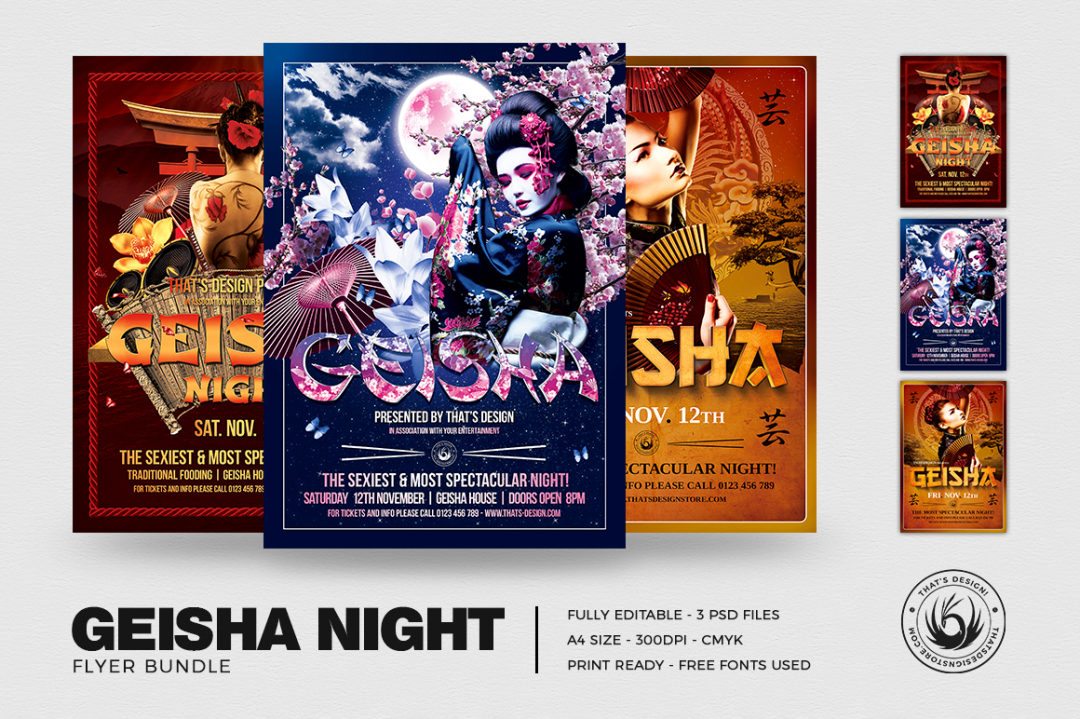 Geisha party flyer templates for Photoshop, japanese asian posters