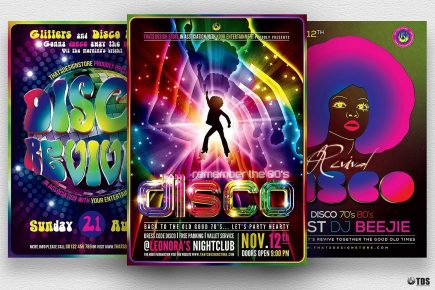 Disco Music Flyer Bundle psd download V2 is Perfect for any Saturday night fever, Remember, Disco, 70's, 80's, 90's and Revival Special Afro party