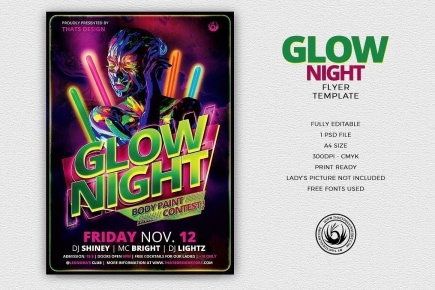 Glow Night Flyer Template