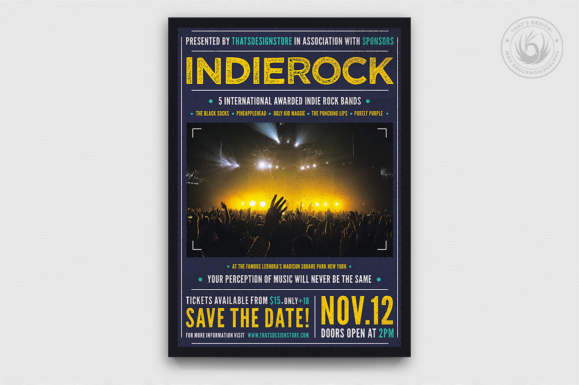 Indie Rock Flyer Template Psd download