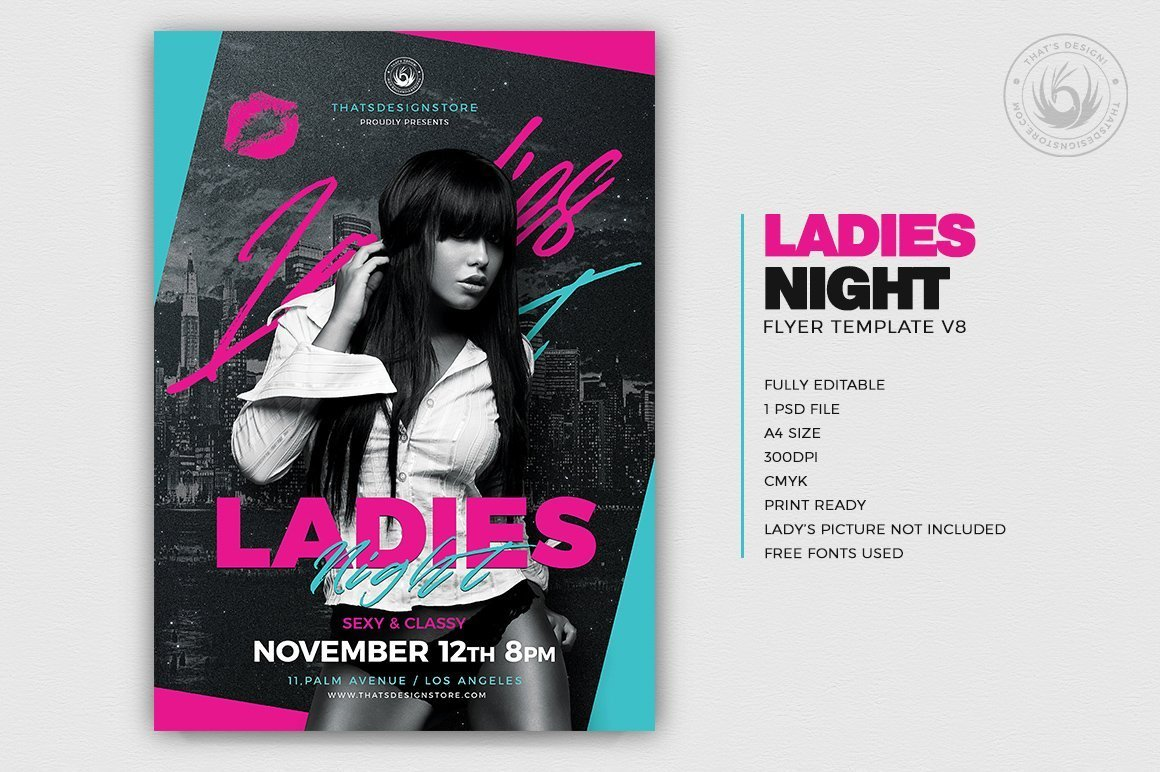 Ladies Night Party Flyer Template for Photoshop ready to print