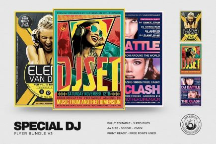 Dj Flyer Templates Bundle , party flyer template, club flyer psd
