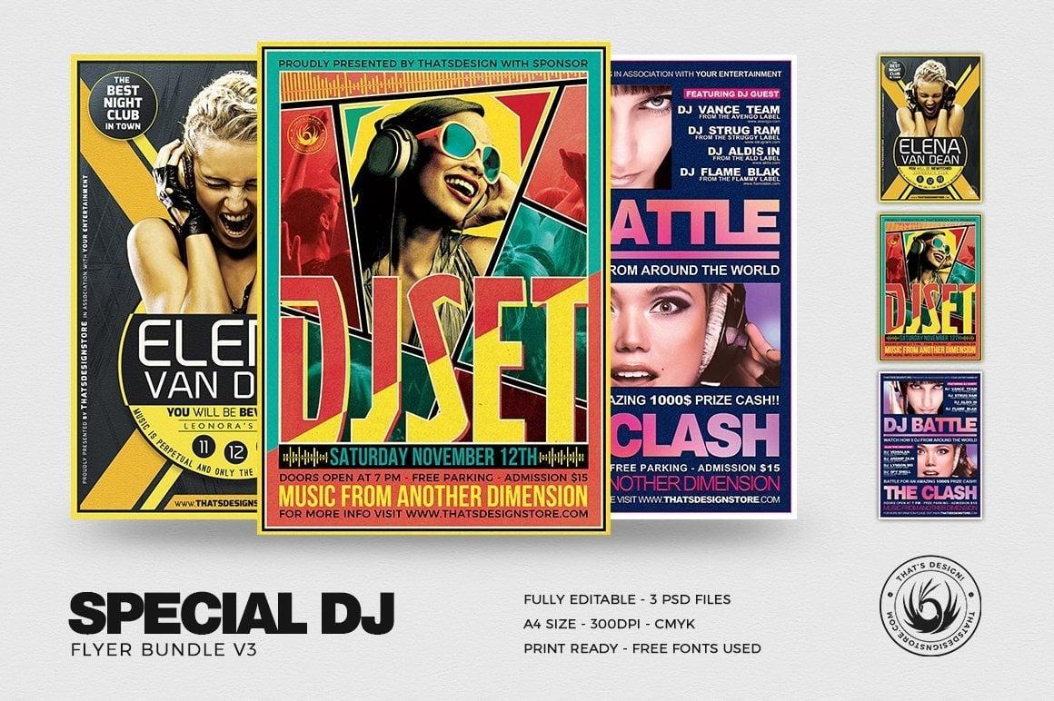 Dj Flyer Templates Bundle , party flyer template, club flyer psd