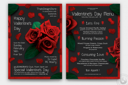 Valentines Day Flyer + Menu Bundle V2 love Psd download to customize with photoshop