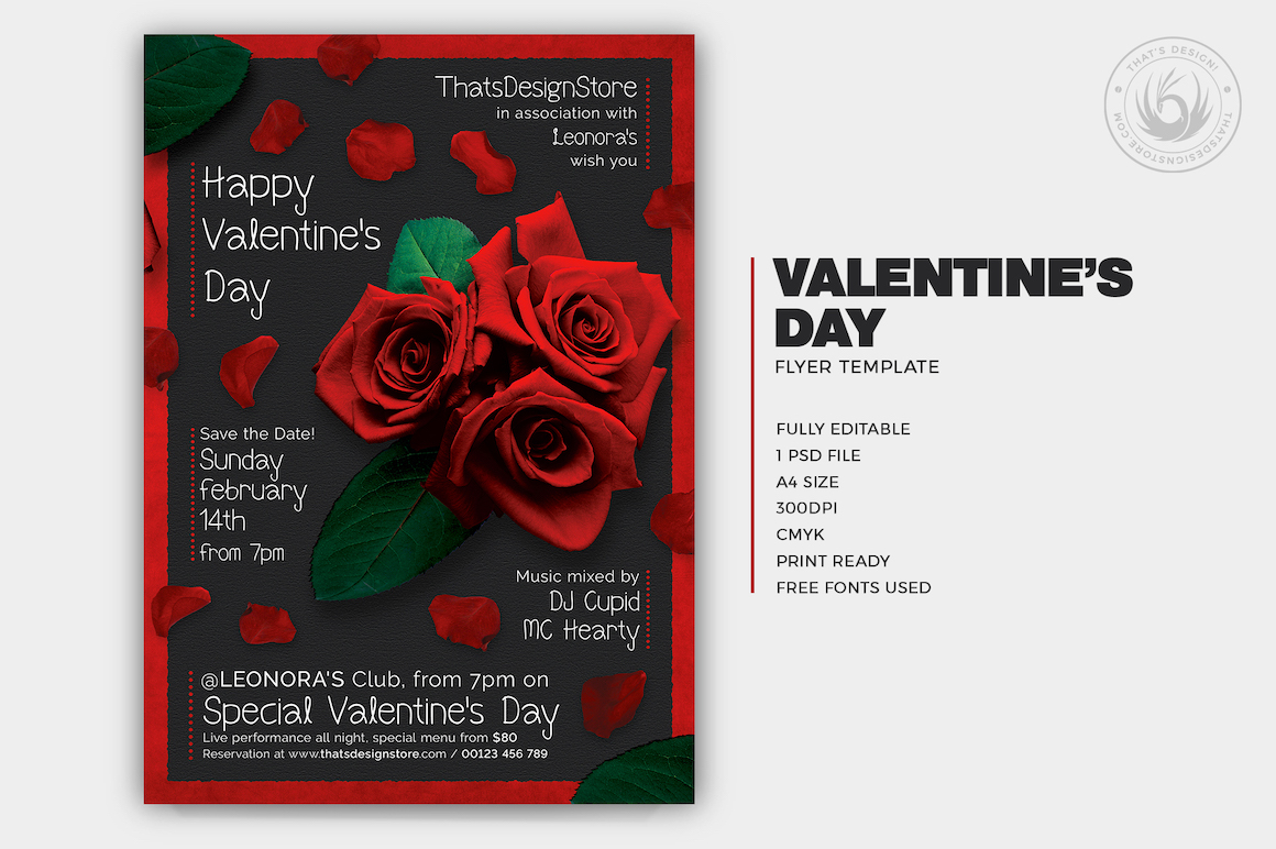 Valentines Day Flyer Template V4 love Psd download to customize with photoshop