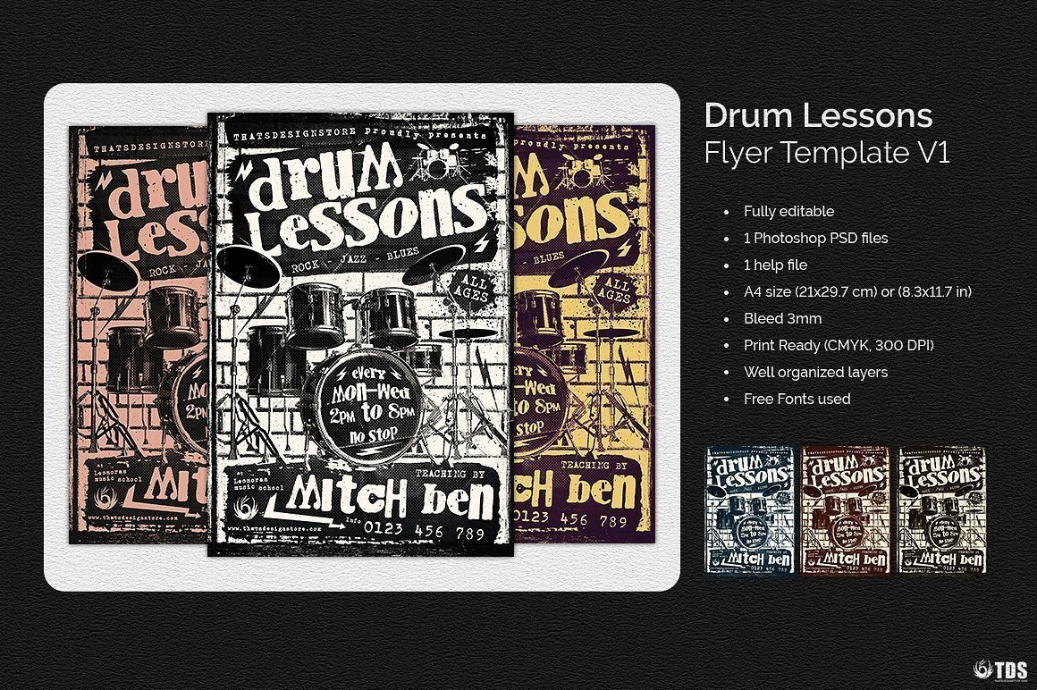 Drum Lessons Flyer Template