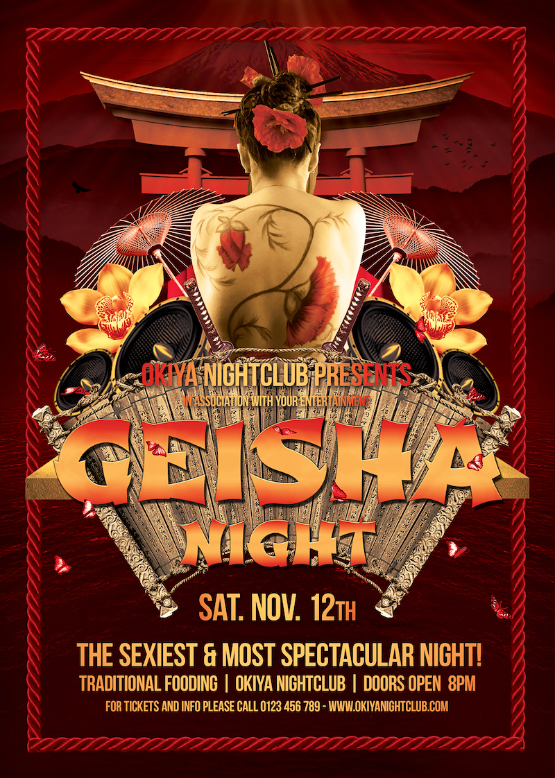 Asian posters, Geisha Night Flyer Template Psd
