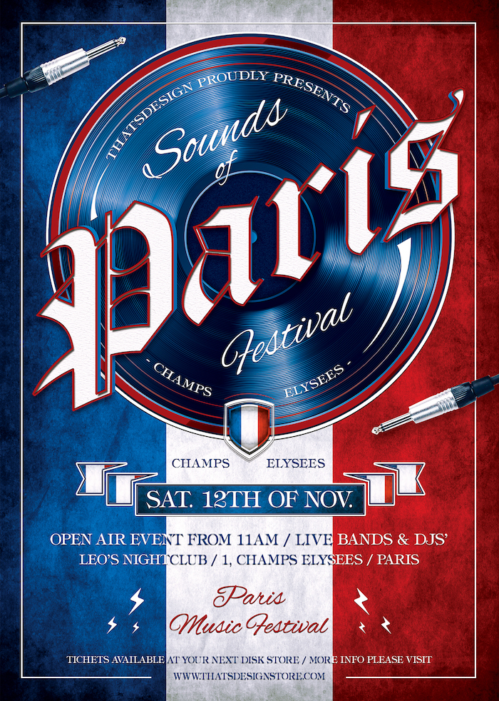 Sounds of Paris Flyer Template designed for an event from France, Eiffel tower, Burlesque party, Wine afterwork, Rock Band from Paris