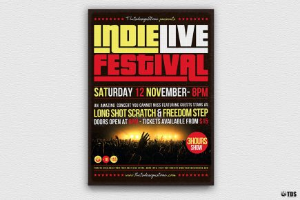Indie Live Festival Flyer Template Concert, Band posters