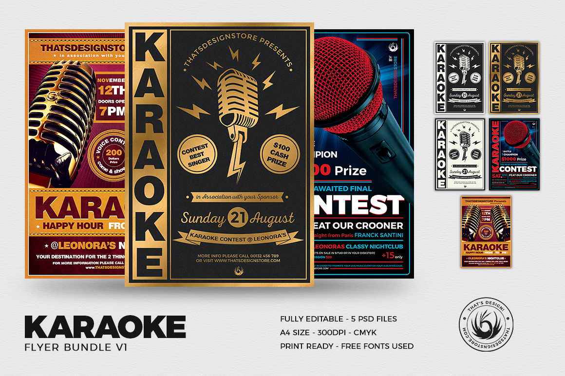 Karaoke Flyer Templates to download for photoshop