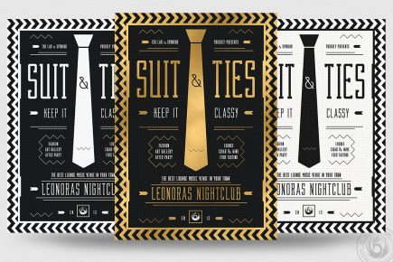 Suit and Tie Flyer Template Psd download V3, Men's afterwork