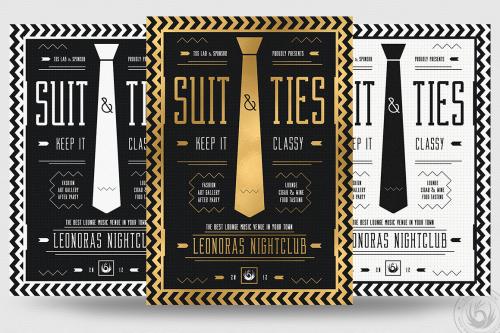 Suit and Tie Flyer Template Psd download V3, Men's afterwork