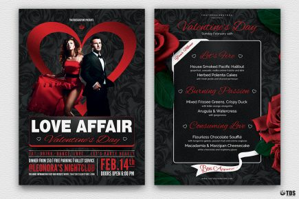 Valentine's Day Flyer + Menu V3 love Psd download to customize with photoshop