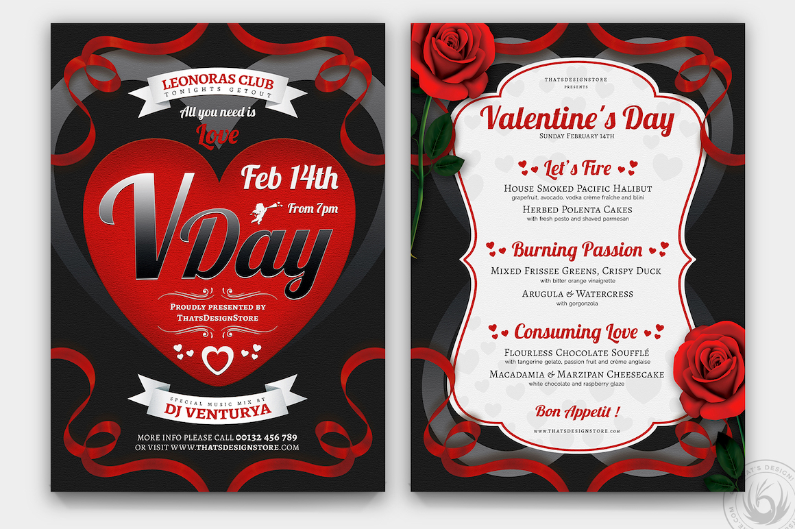 Valentine's Day Flyer + Menu V8 love Psd download to customize with photoshop