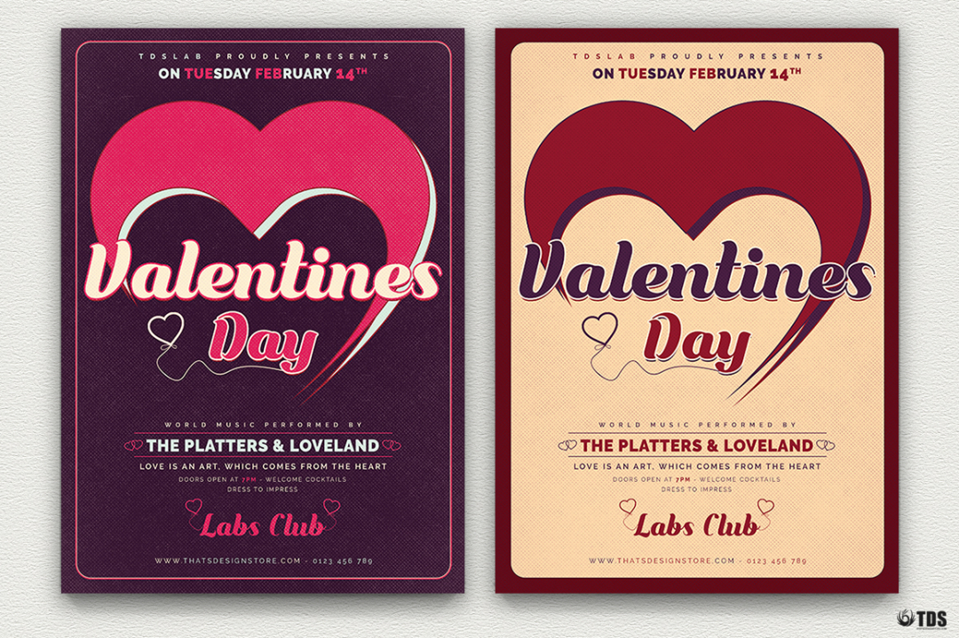 Valentine's Day Flyer Template V9 love Psd download to customize with photoshop