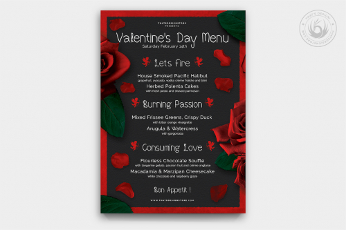 Valentine's day Menu Template V2 love Psd download to customize with photoshop