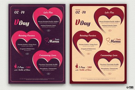 Valentines Day Menu Template V9 love Psd download to customize with photoshop