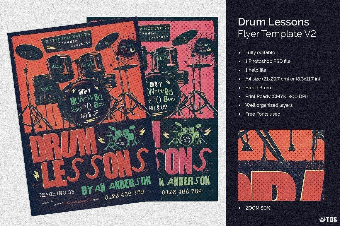 Drum Lessons Flyer Template V2