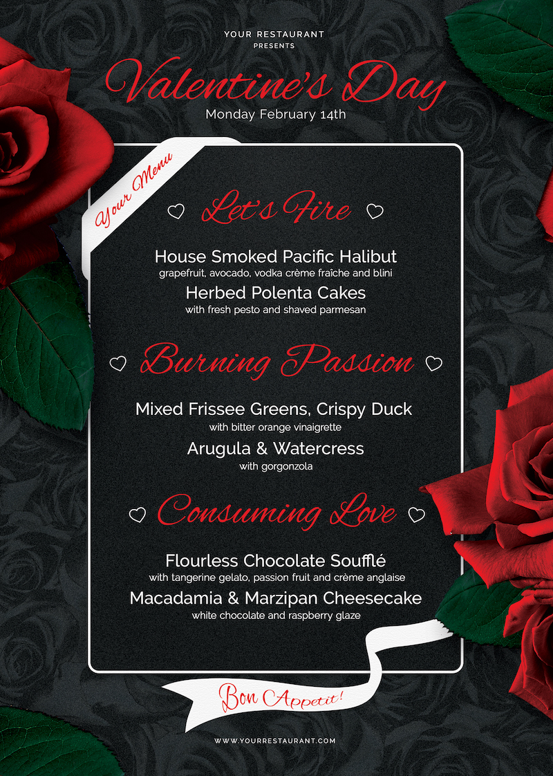 Valentines day Menu Template V3