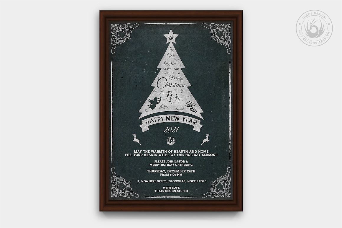 Christmas Invitation Template PSD Design editable with photoshop. chalk board Flyer poster