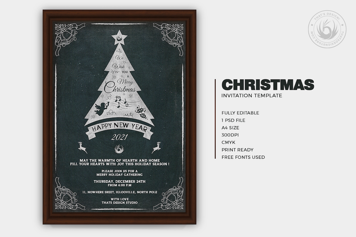 Christmas Invitation Template PSD Design editable with photoshop. chalkboard Flyer poster