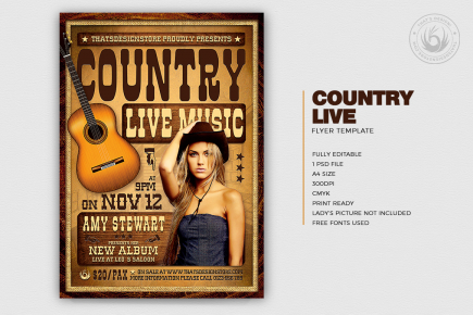 Country Live Flyer Poster PSD download V4, Wanted flyers farwest Western music template, rodeo bike cowboy in a coyote bar