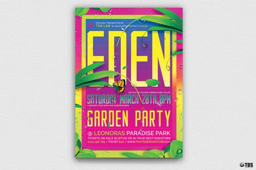 Garden Party Flyer Template PSD Design