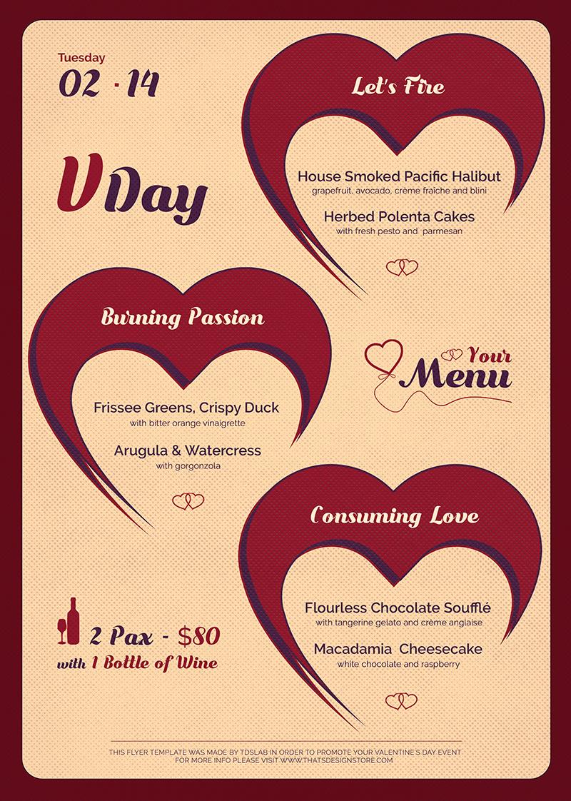 Valentines Day Menu Template V9