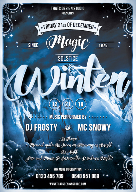 Winter Season Flyer Template Psd download, Ice party, skiing competition or mountain sports event, Snow Ice party