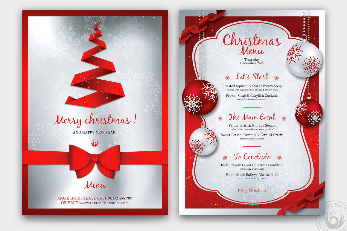 Christmas Menu Flyer Template PSD Download V4