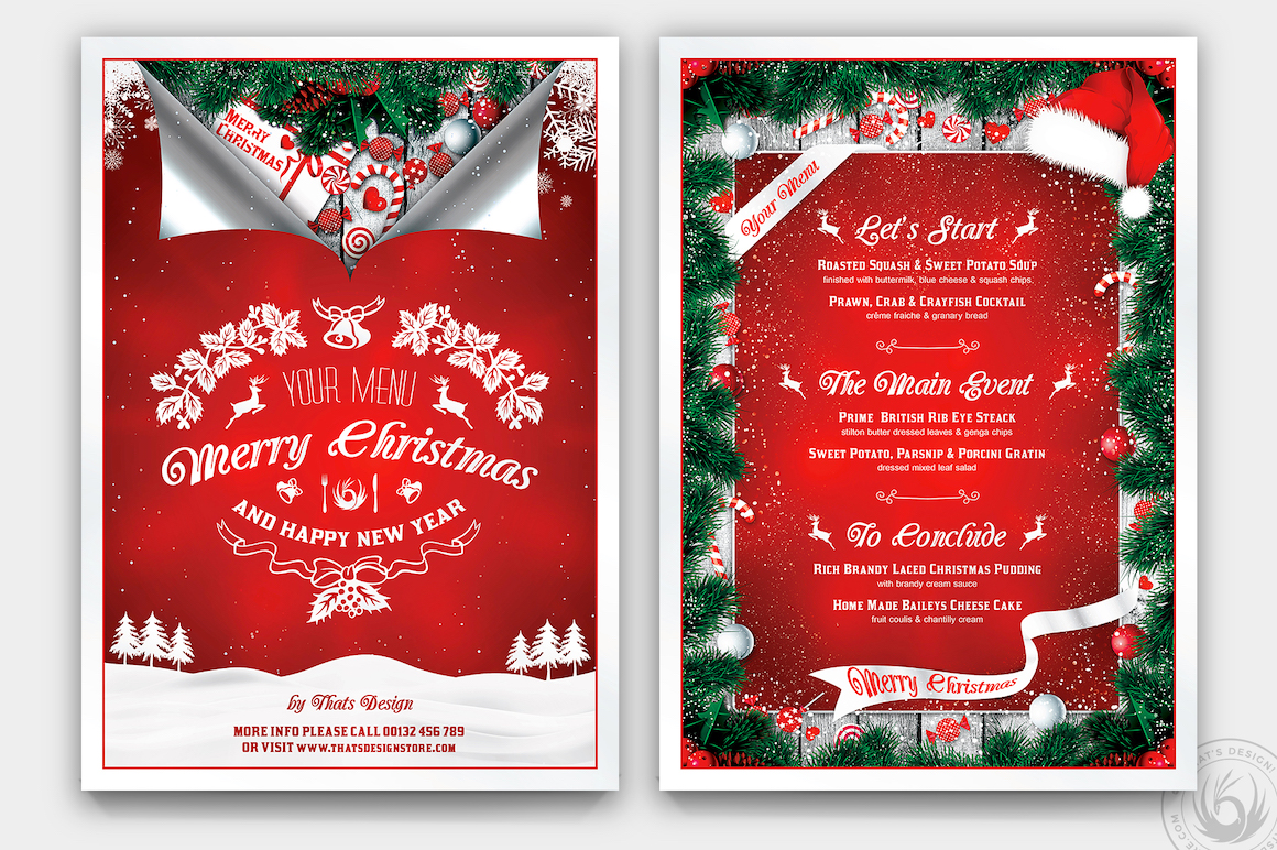 Christmas Menu Template PSD Download for Photoshop V6