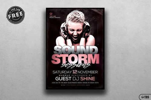 Sound Storm Flyer Template for photoshop, Download Club party freebies for free