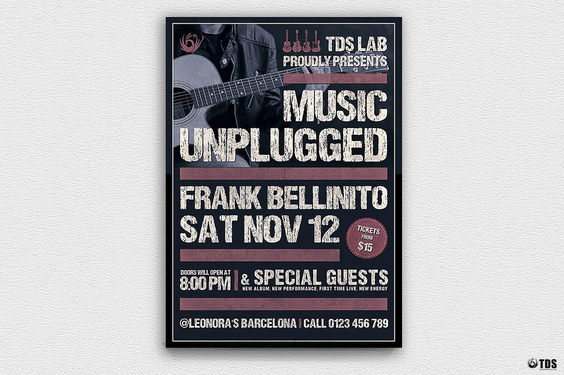 Music Unplugged Flyer Template, Rock band flyers psd