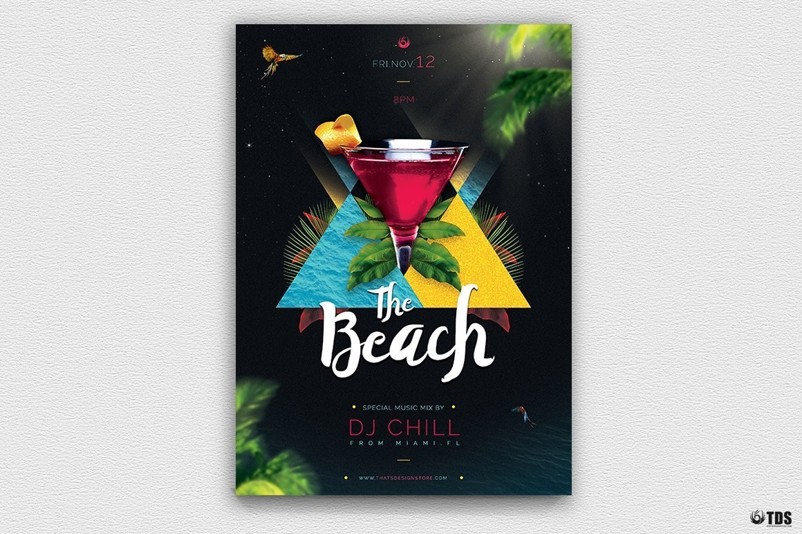 Night at The Beach Party Invitations Flyer PSD Template, club or cocktails bar event, Pool or garden, Dj set mixing chillout, lounge music, tropical sunset, summer camp holidays